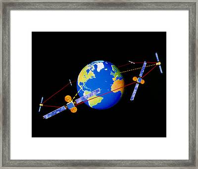 Diagram Of Comms Satellites Linked By Lasers Framed Print