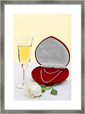 Diamond Necklace With Champagne And White Rose. Framed Print by Richard Thomas