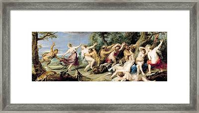 Diana And Her Nymphs Surprised By Fauns Framed Print by Rubens