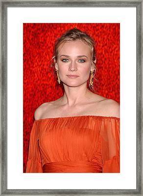 Diane Kruger Wearing A J. Mendel Dress Framed Print