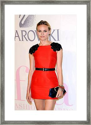 Diane Kruger Wearing A Jason Wu Dress Framed Print by Everett