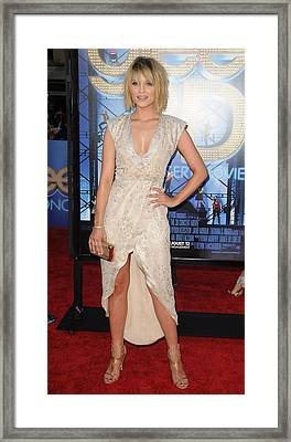 Dianna Agron Wearing A Christian Cota Framed Print
