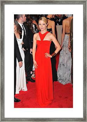 Dianna Agron Wearing A Dress By Michael Framed Print