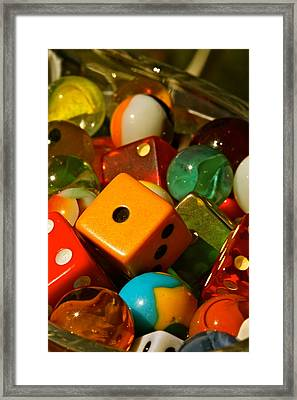 Dice And Marbles Framed Print by Michael Cinnamond
