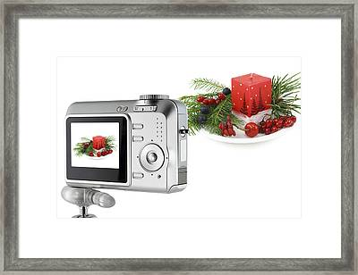 Framed Print featuring the photograph Digital Camera And A Christmas Bouquet Collage by Aleksandr Volkov