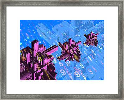 Digital Communication, Conceptual Image Framed Print by Victor Habbick Visions