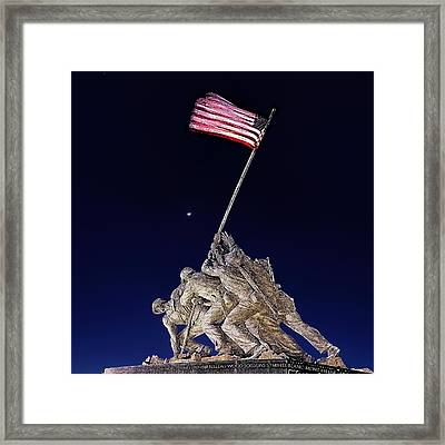 Digital Drawing - Iwo Jima Memorial At Dusk Framed Print by Metro DC Photography