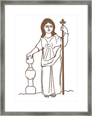 Digital Illustration Of Ancient Gaulish Goddess Of Nature Nantosuelta Framed Print