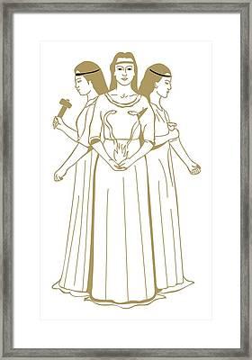 Digital Illustration Of Celtic Triple Goddess Brigit Holding Snakes Rising From Flames Framed Print