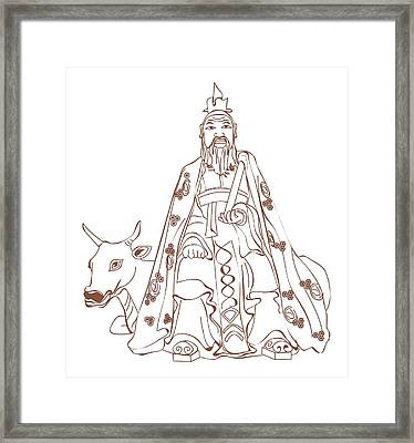 Digital Illustration Of Chinese Philosopher Confucius Sitting On Cow Framed Print