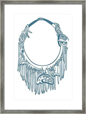 Digital Illustration Of Haida Neckring With Charms Carved From Pieces Of Bone Framed Print