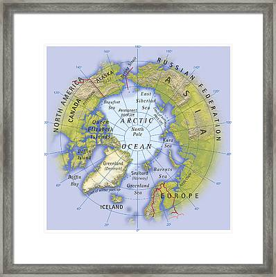 Digital Illustration Of Map Showing Position Of Arctic Ocean And Surrounding Continents Framed Print by Dorling Kindersley