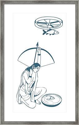Digital Illustration Of Skilled Archer Arjuna Aiming Arrow At Fish Hung From Revolving Wheel Above H Framed Print