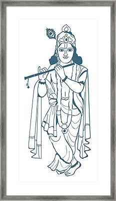 Digital Illustration Of Vishnu Playing Flute Framed Print