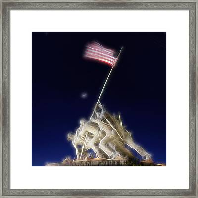 Framed Print featuring the photograph Digital Lightening - Iwo Jima Memorial by Metro DC Photography