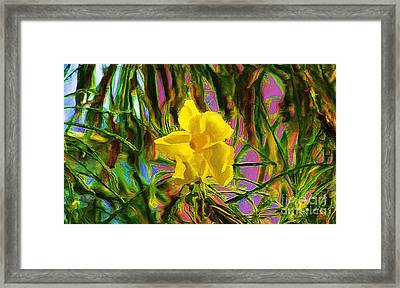 Framed Print featuring the digital art Digital Painting Of Yellow Orchid by John  Kolenberg