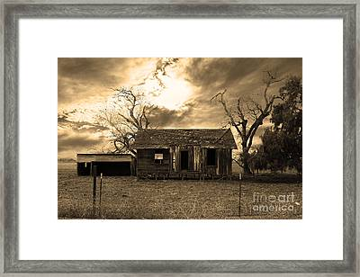 Dilapidated Old Farm House . 7d10341 . Sepia Framed Print by Wingsdomain Art and Photography