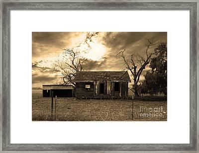 Dilapidated Old Farm House . 7d10341 . Sepia Framed Print