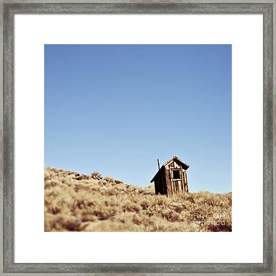 Dilapidated Outhouse On Hillside Framed Print