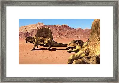 Dimetrodon Pair, Artwork Framed Print by Christian Darkin