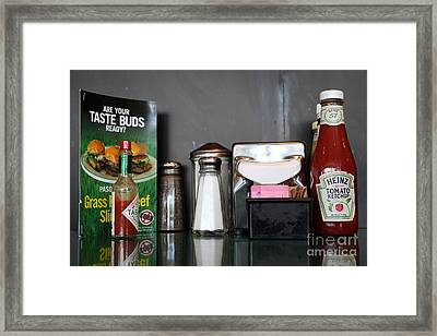Diner Table Condiments And Other Items - 5d18035 Framed Print by Wingsdomain Art and Photography