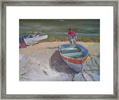 Dinghy Launch Framed Print by Ron Wilson