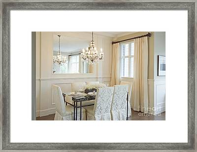 Dining Area And Chandelier Framed Print by Shannon Fagan