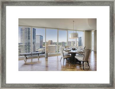 Dining Area With View Of City Framed Print