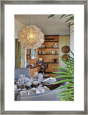 Dining Room Interior With Ornate Light Fixture Framed Print