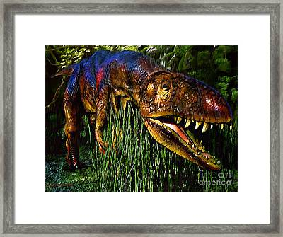 Dinosaur In Reeds Framed Print by Jerry L Barrett