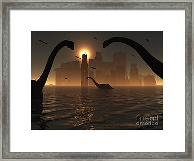 Dinosaurs Feed Near The Shores Framed Print by Mark Stevenson