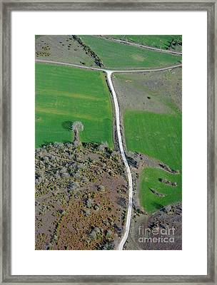 Dirt Road And Plowed Fields Framed Print by Sami Sarkis