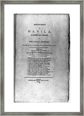 Discourses On Davila, 1790 Framed Print