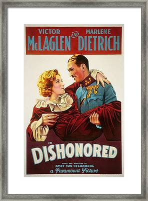 Dishonored, Marlene Dietrich, Victor Framed Print by Everett