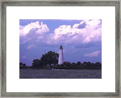 Distant Storm-st. Marks Lighthouse Framed Print by Marilyn Holkham