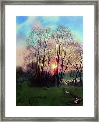 Distant Sunset Framed Print by Sergey Zhiboedov