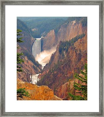 Distant Thunder-lower Waterfall Of Yellowstone Framed Print