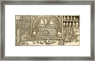 Distillation, Middle Ages Framed Print by Science Source