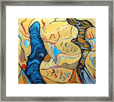 Distorted Dialog Between Two Contemporary Philosophers Framed Print by Kazuya Akimoto