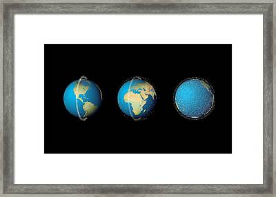 Distribution Of Space Debris Over Time Framed Print by Claus Lunau