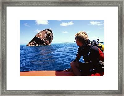 Diver And Shipwreck Framed Print