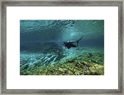 Diver Swims Through The Shallow Reef Framed Print