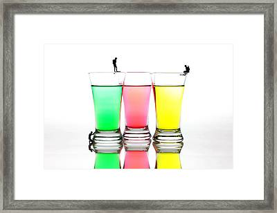 Diving In Colorful Water Framed Print
