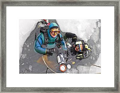 Diving In The Ice Framed Print