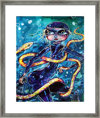 Diving With Serpent Framed Print by Leanne Wilkes