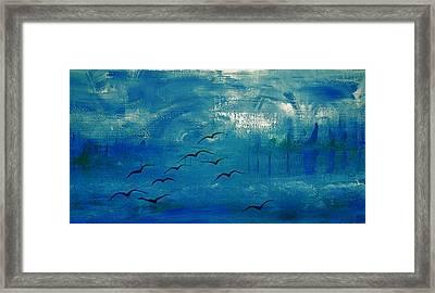 Dix Mouettes Pilotent Par Les Formes Framed Print by Contemporary Luxury Fine Art