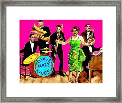 Dixie Jazz Kings Pink Framed Print by Mel Thompson