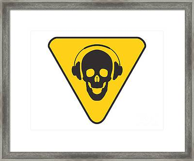 Dj Skull On Hazard Triangle Framed Print by Pixel Chimp