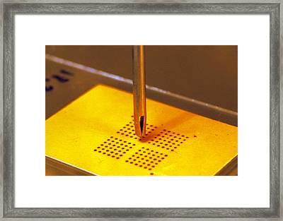 Dna Biochip Plotter Being Tested For Accuracy Framed Print by Volker Steger
