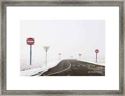 Do Not Enter Signs By Snowy Road Framed Print by Dave & Les Jacobs